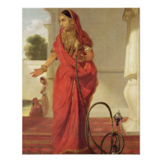 An Indian Dancing Girl with a Hookah, 1772 (oil on Poster