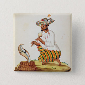 An Indian Snake Charmer with a Cobra, from a Frenc 15 Cm Square Badge