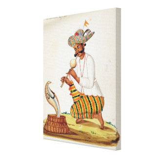 An Indian Snake Charmer with a Cobra, from a Frenc Canvas Print