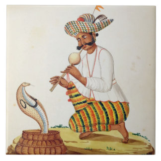 An Indian Snake Charmer with a Cobra, from a Frenc Large Square Tile