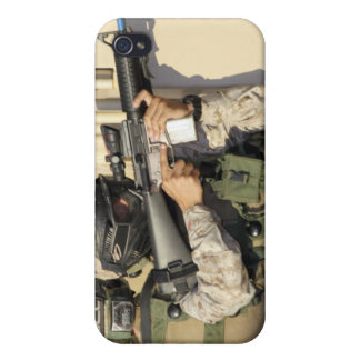 An infantry scout aims his weapon iPhone 4 covers