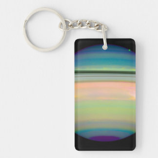 An Infrared View of Saturn Rectangular Acrylic Key Chains