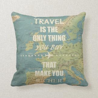 An inspiring travel quotes throw pillow