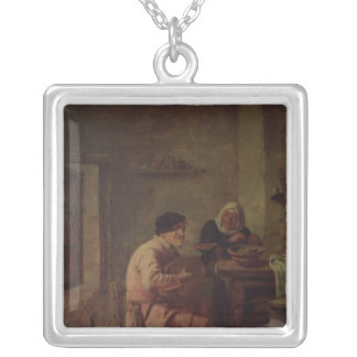 An Interior with Figures Silver Plated Necklace