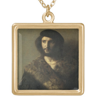 An Invalid, c.1514 (oil on canvas) Square Pendant Necklace