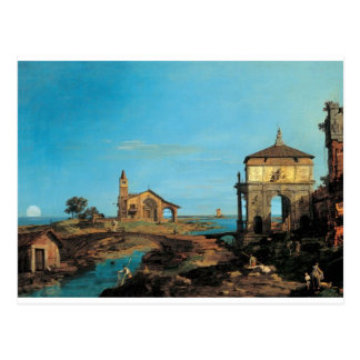 An Island in the Lagoon with a Gateway and Church Postcard