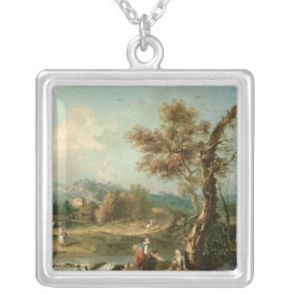 An Italianate River Landscape with Travellers Custom Jewelry