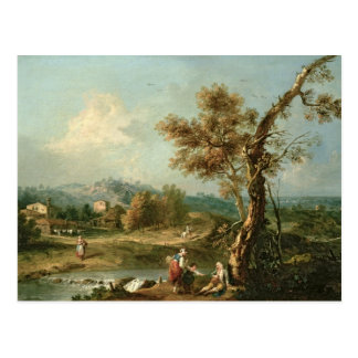 An Italianate River Landscape with Travellers Postcard