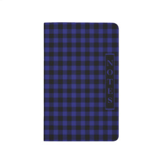 An midnight blue and black ckecked gingham notes j journal