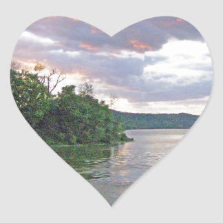 An Ohio River Valley Sunrise Heart Stickers