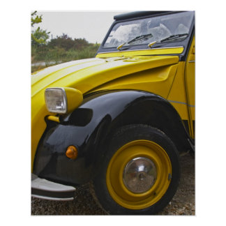 An old black and yellow Citroen 2CV 2 CV, Poster