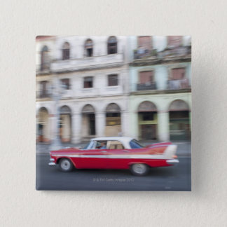 An old car cruising the streets of Havana, Cuba. 15 Cm Square Badge