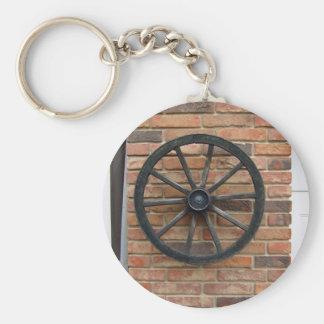 An old cart wheel on a brick wall key ring