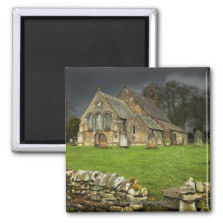An Old Church Under A Dark Sky Square Magnet