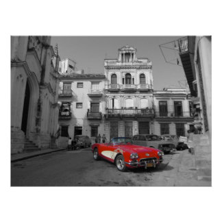 An old Corvette in old Havana Posters