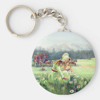 AN OLD FASHIONED GIRL by SHARON SHARPE Basic Round Button Key Ring