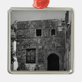 An old house in Lindos, Rhodes Silver-Colored Square Decoration