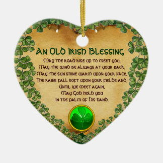 An Old Irish Blessing Parchment,Heart Christmas Ornament