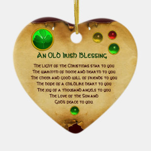 an old irish christmas blessing heart parchment christmas ornament