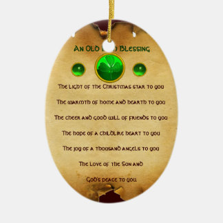 An Old Irish Christmas Blessing Parchment Ceramic Oval Decoration