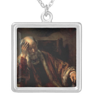 An Old Man in an Armchair Silver Plated Necklace