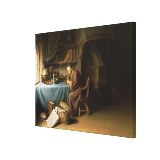 An Old Man Lighting his Pipe in a Study Canvas Print