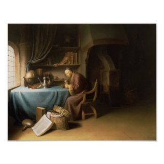 An Old Man Lighting his Pipe in a Study Poster