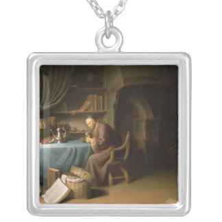 An Old Man Lighting his Pipe in a Study Silver Plated Necklace
