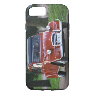 An old red Citroen 2CV car with a smiling woman iPhone 8/7 Case