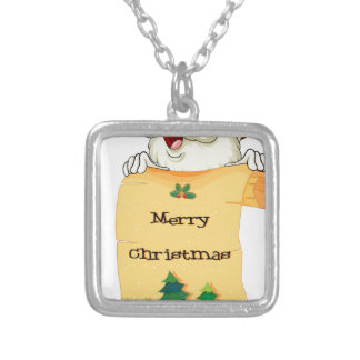 An old Santa holding a paper scroll with christmas Square Pendant Necklace