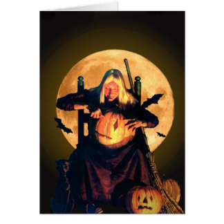 An Old Witch Carves Pumpkins for Halloween Card