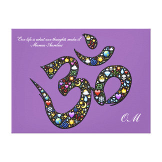 An Om symbol wrapped canvas print.