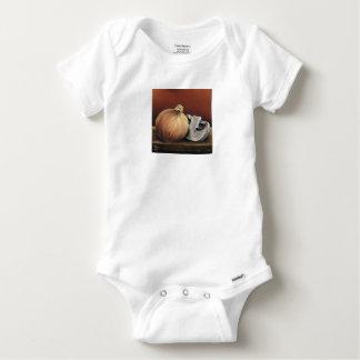 An onion and a mushroom baby onesie