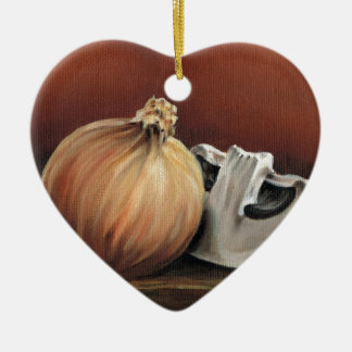An onion and a mushroom ceramic heart decoration