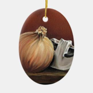 An onion and a mushroom ceramic oval decoration