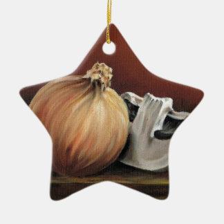 An onion and a mushroom ceramic star decoration