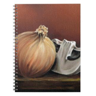 An onion and a mushroom notebooks