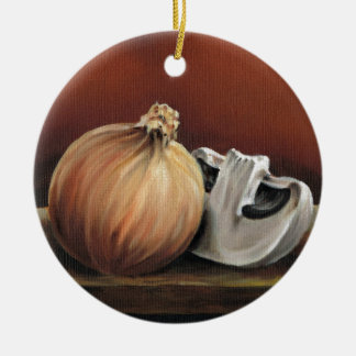 An onion and a mushroom round ceramic decoration