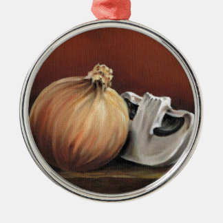 An onion and a mushroom Silver-Colored round decoration