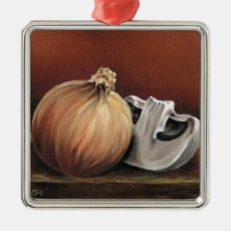 An onion and a mushroom Silver-Colored square decoration