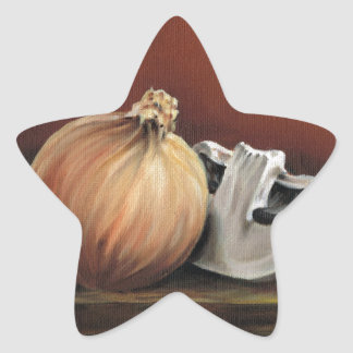 An onion and a mushroom star sticker
