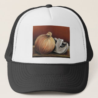 An onion and a mushroom trucker hat