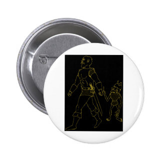 An Orc and Goblin (lined or gold) 6 Cm Round Badge