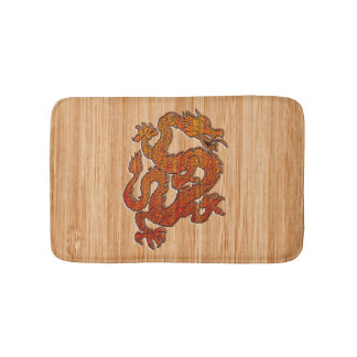 An oriental Dragon in Bamboo Bath Mat