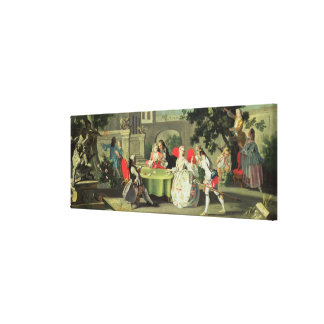 An ornamental garden with elegant figures seated a canvas print