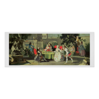 An ornamental garden with elegant figures seated a poster