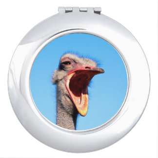 An Ostrich showing aggression Compact Mirror