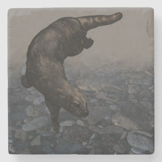 An Otter Going for a Swim Stone Coaster