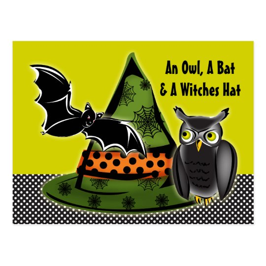 An Owl, A Bat and A Witches Hat Postcard