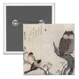 An Owl and two Eastern Bullfinches 15 Cm Square Badge